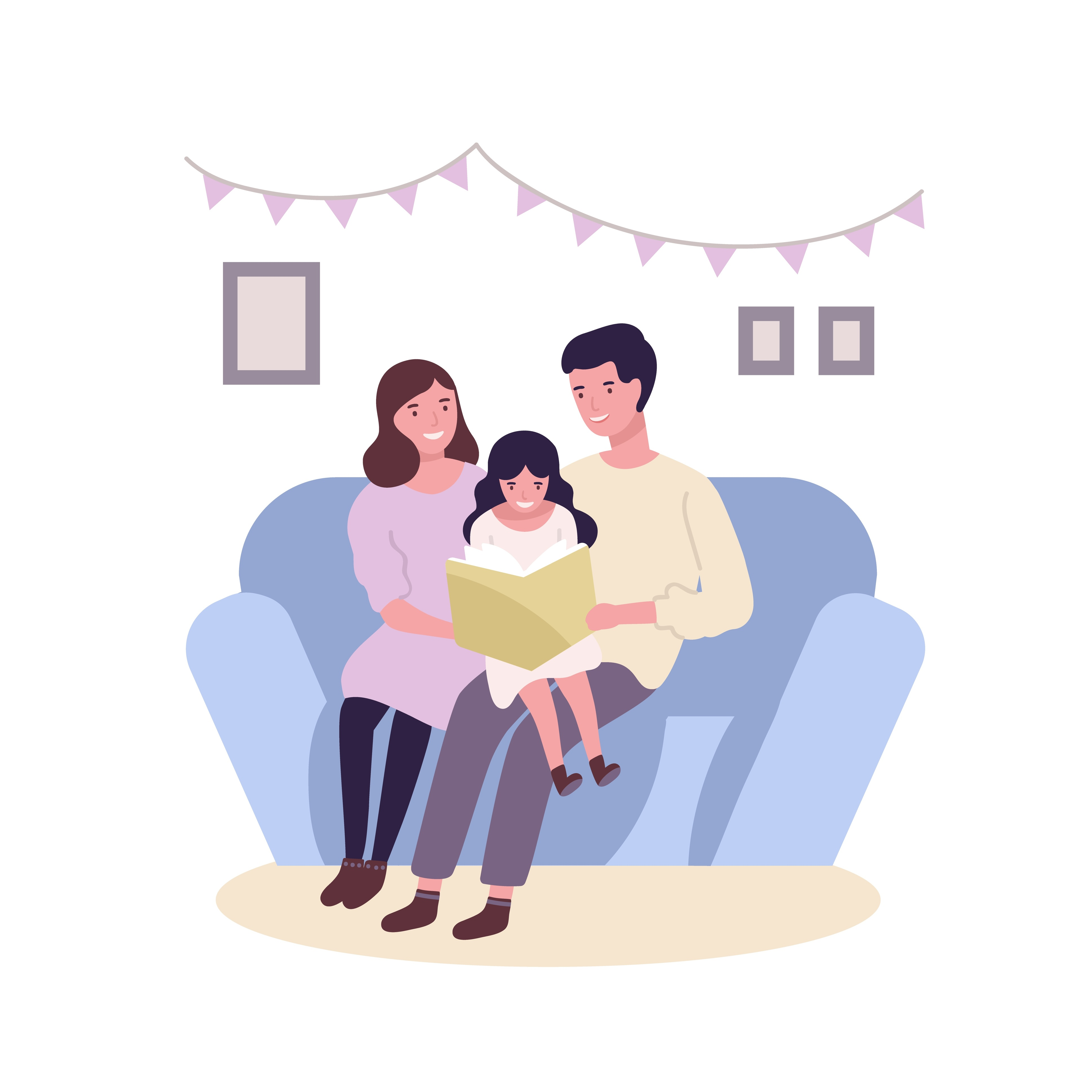 Illustration of two parents sitting on a couch and reading to their child.