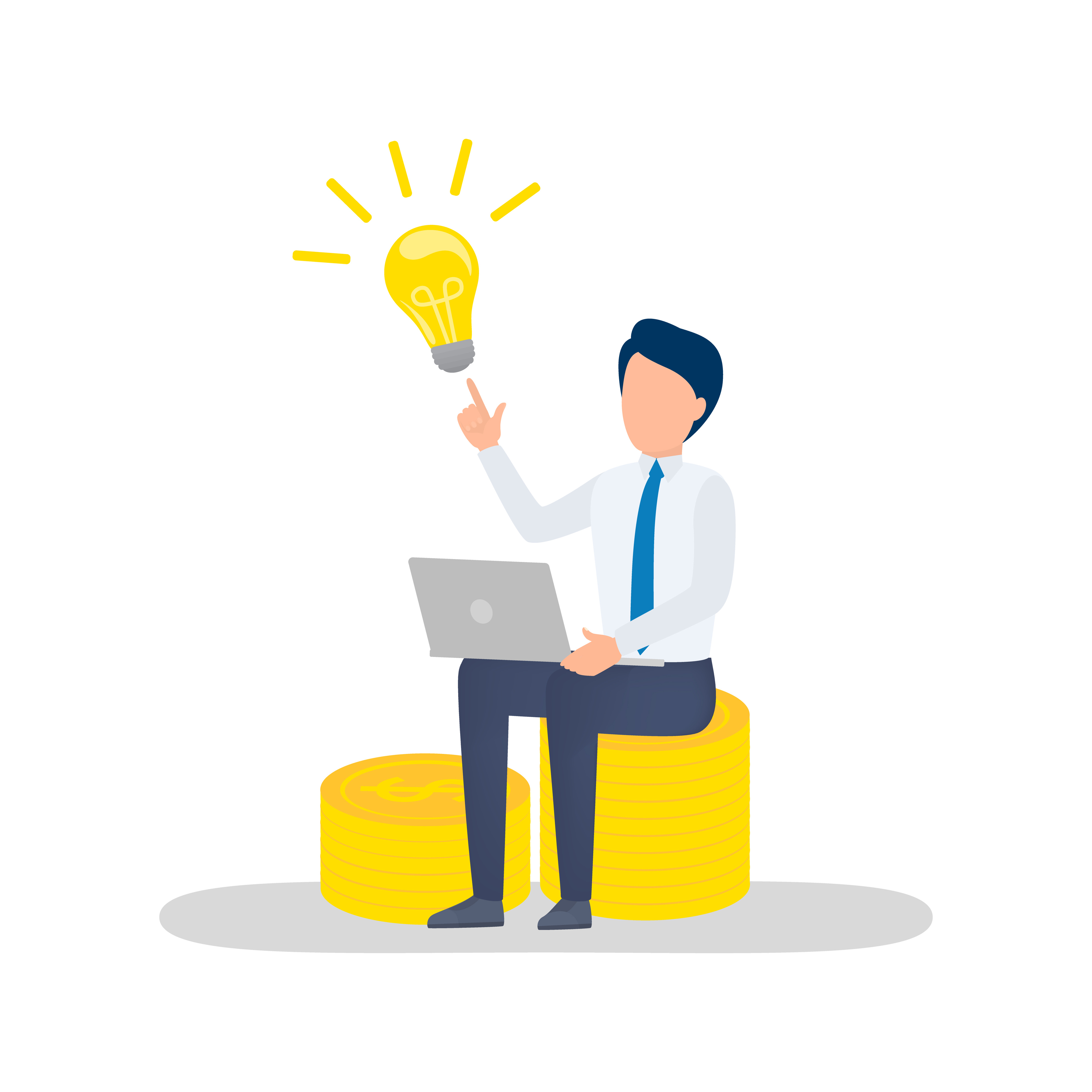 Illustration of a person wearing a tie, sitting down using a laptop, and pointing to a large lightbulb.