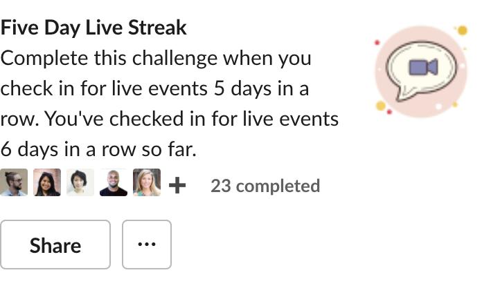 Five day live streak challenge