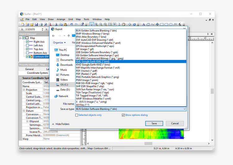 When exporting, select KML from the 'Save as Type' option. Ensure that the 'Show Options Dialog' option is checked.