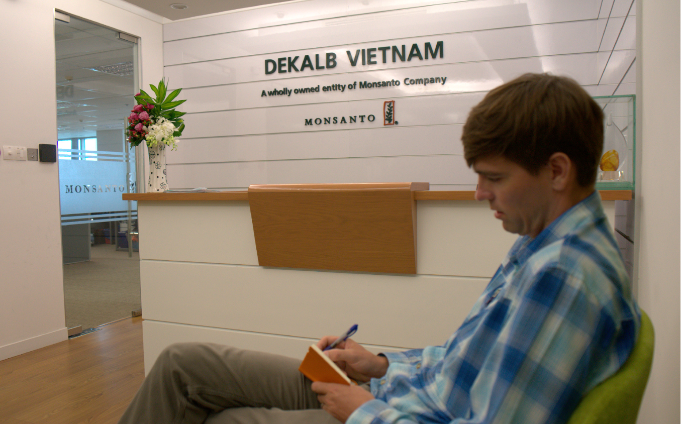 Bart Elmore preparing for a interview at Dekalb Vietnam, a wholly owned entity of Monsanto Company.