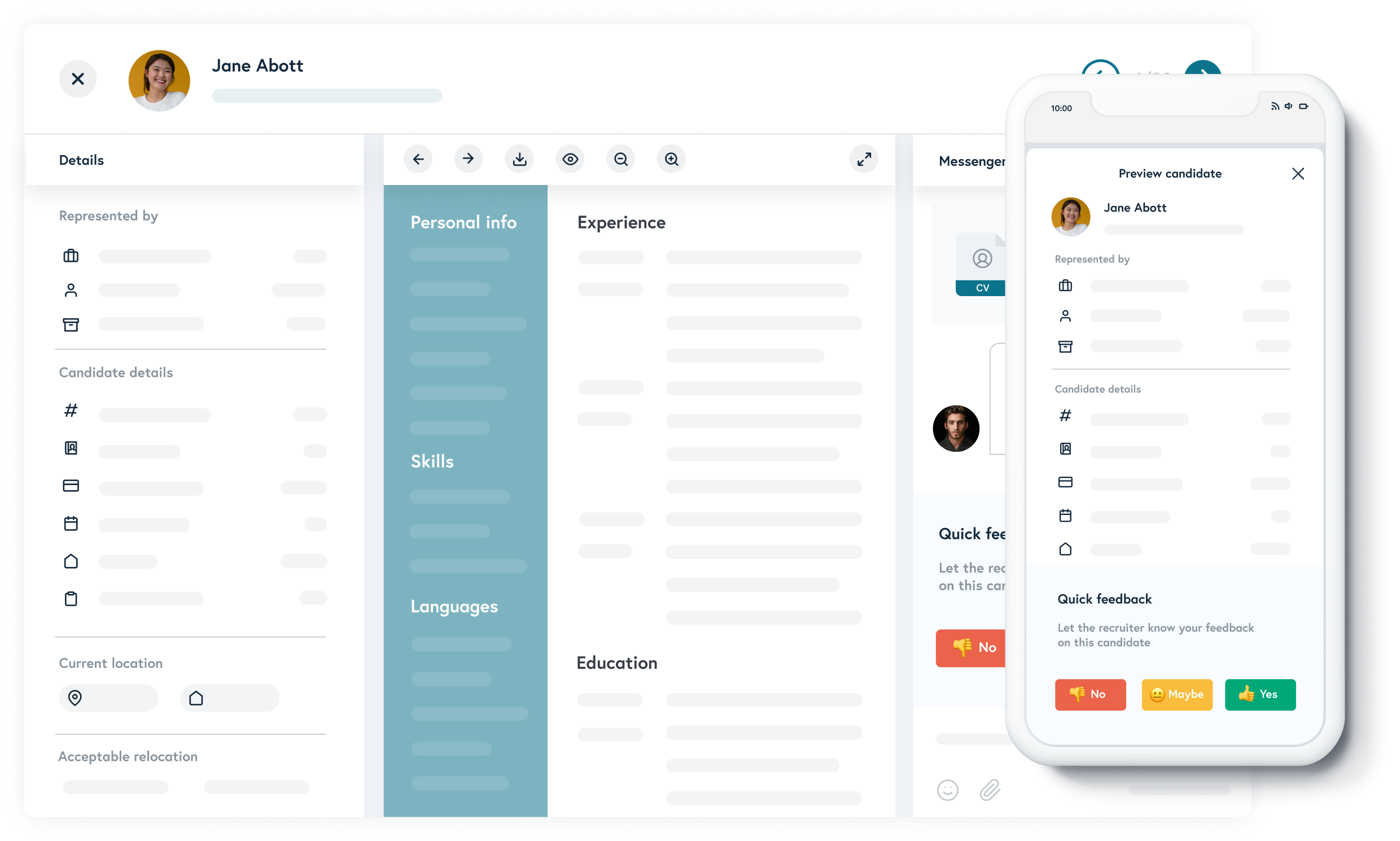 Candidates profile. Get feedback and chat with your client