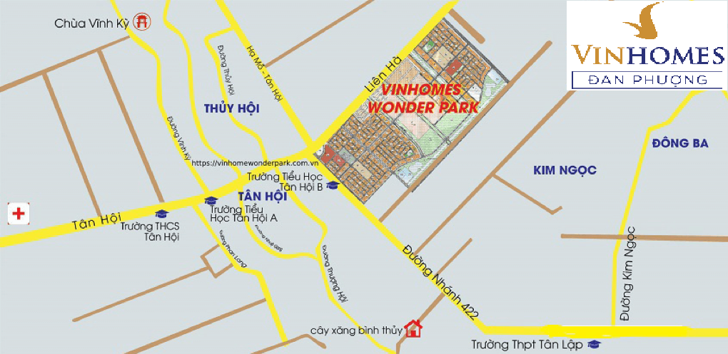 Vinhome Wonder Park Đan Phượng ở vị trí trung tâm phía Tây thủ đô