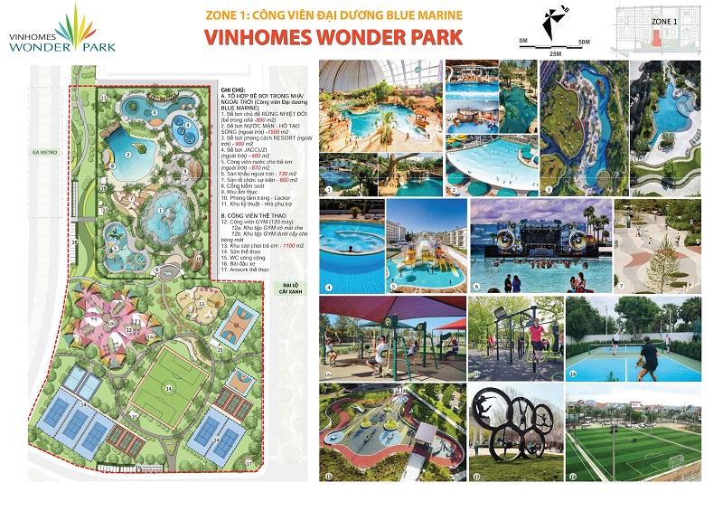 Tiện ích nội khu Zone 1 Vinhomes Wonder Park