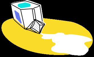 Illustration of spilled milk