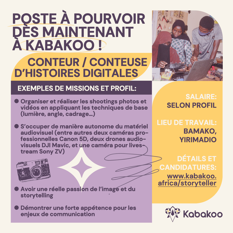 Kabakoo recrute un·e storyteller - Conteur conteuse d'histoires digitales