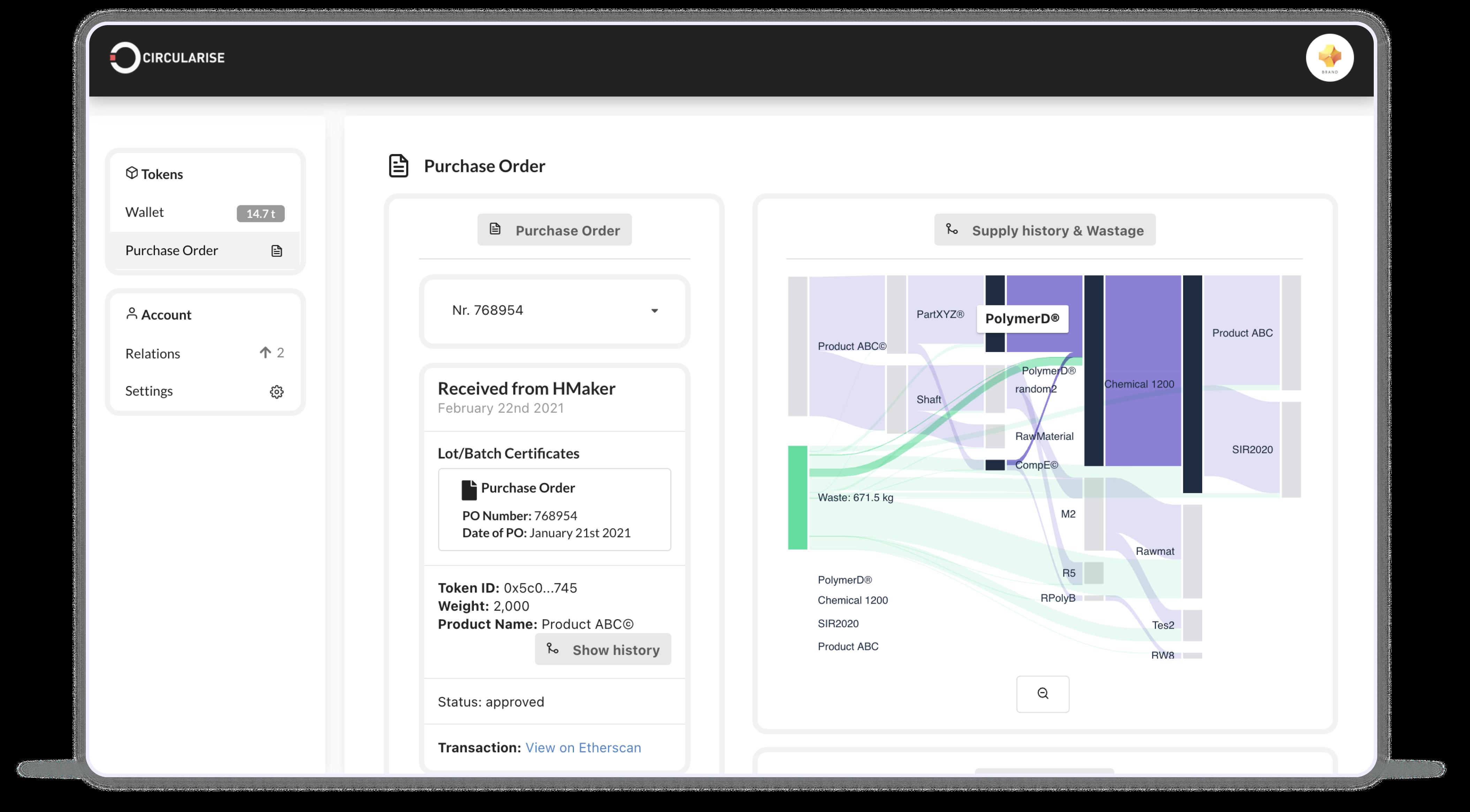 Circularise Dashboard screenshot (bill of material)
