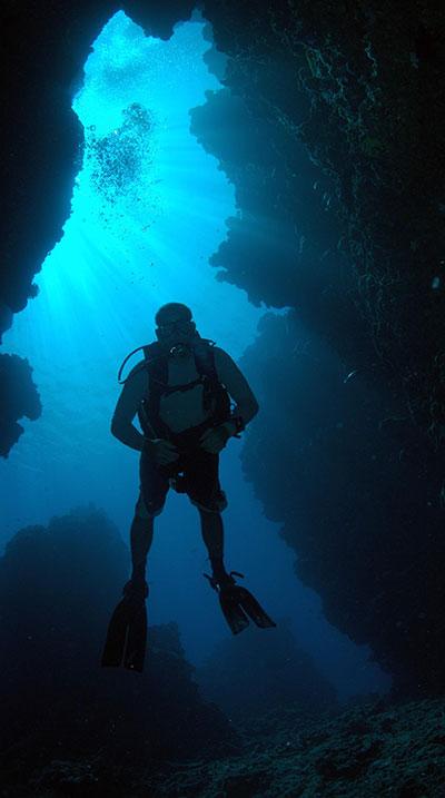 SCUBA diver in a cavern