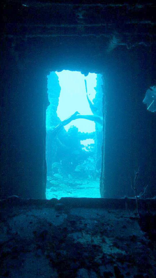 Underwater shipwreck view