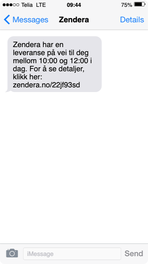 Zendera TMS gjør det enkelt å sende ut tilpassede SMSer til kundene