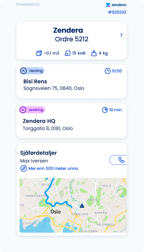 Zendera TMS har en oversiktlig track and trace for kundene