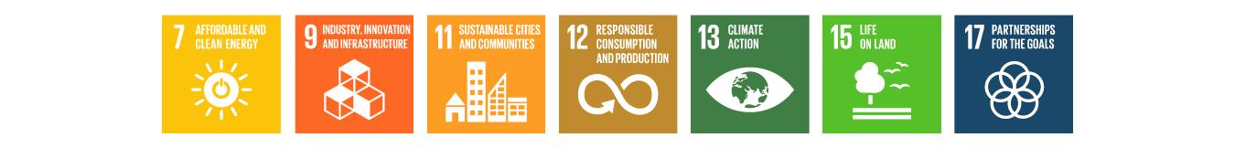 SDG logos for SDG numbers 7, 9, 11, 12, 13, 15 & 17