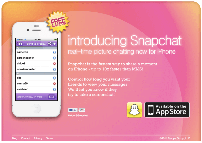 Shows Snapchat's very basic MVP as displayed on their site in June 2012