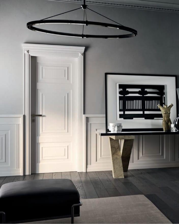 интериорна врата Garofoli - бяла с дървесен декор