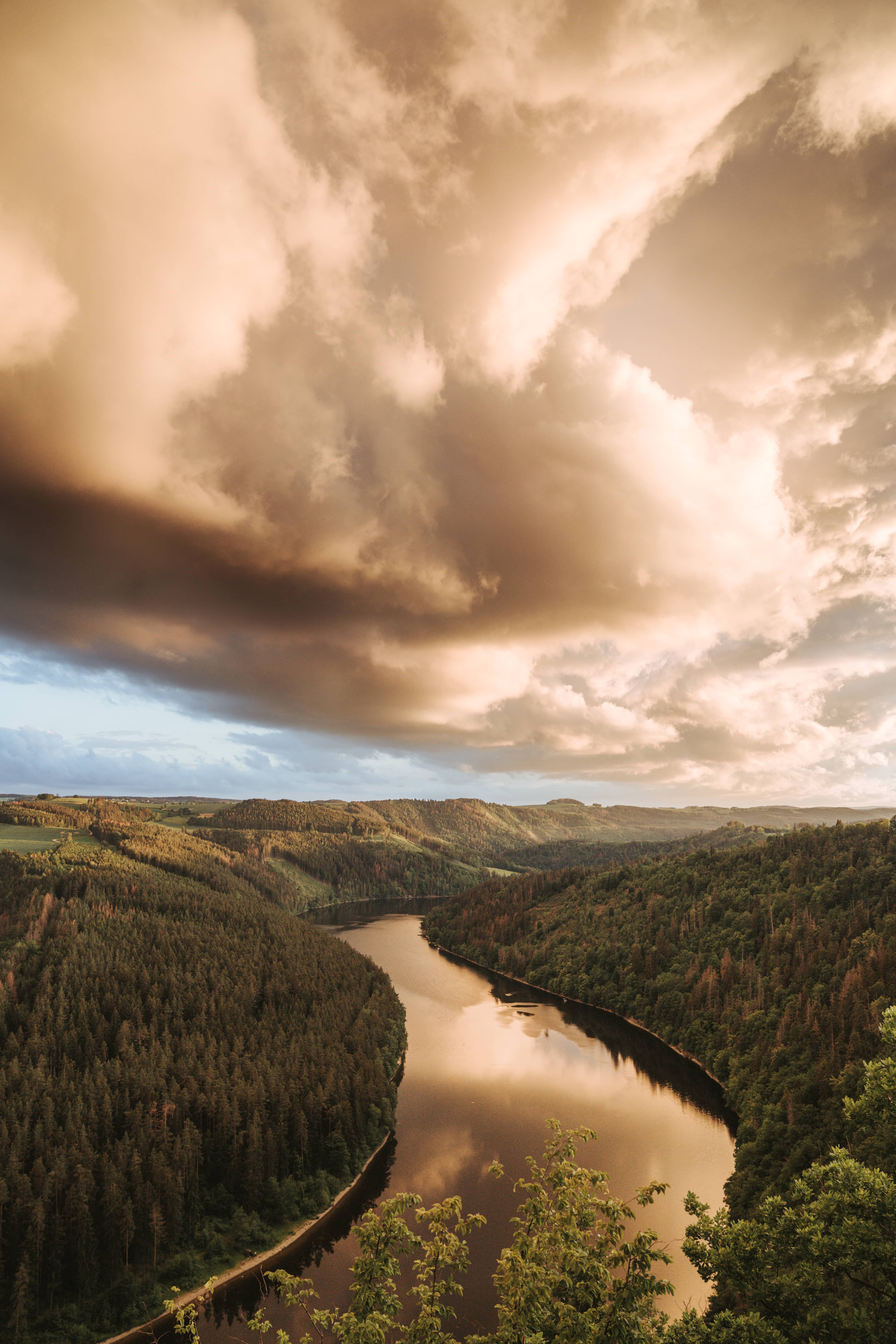 A river surrounded by forest while the sun sets