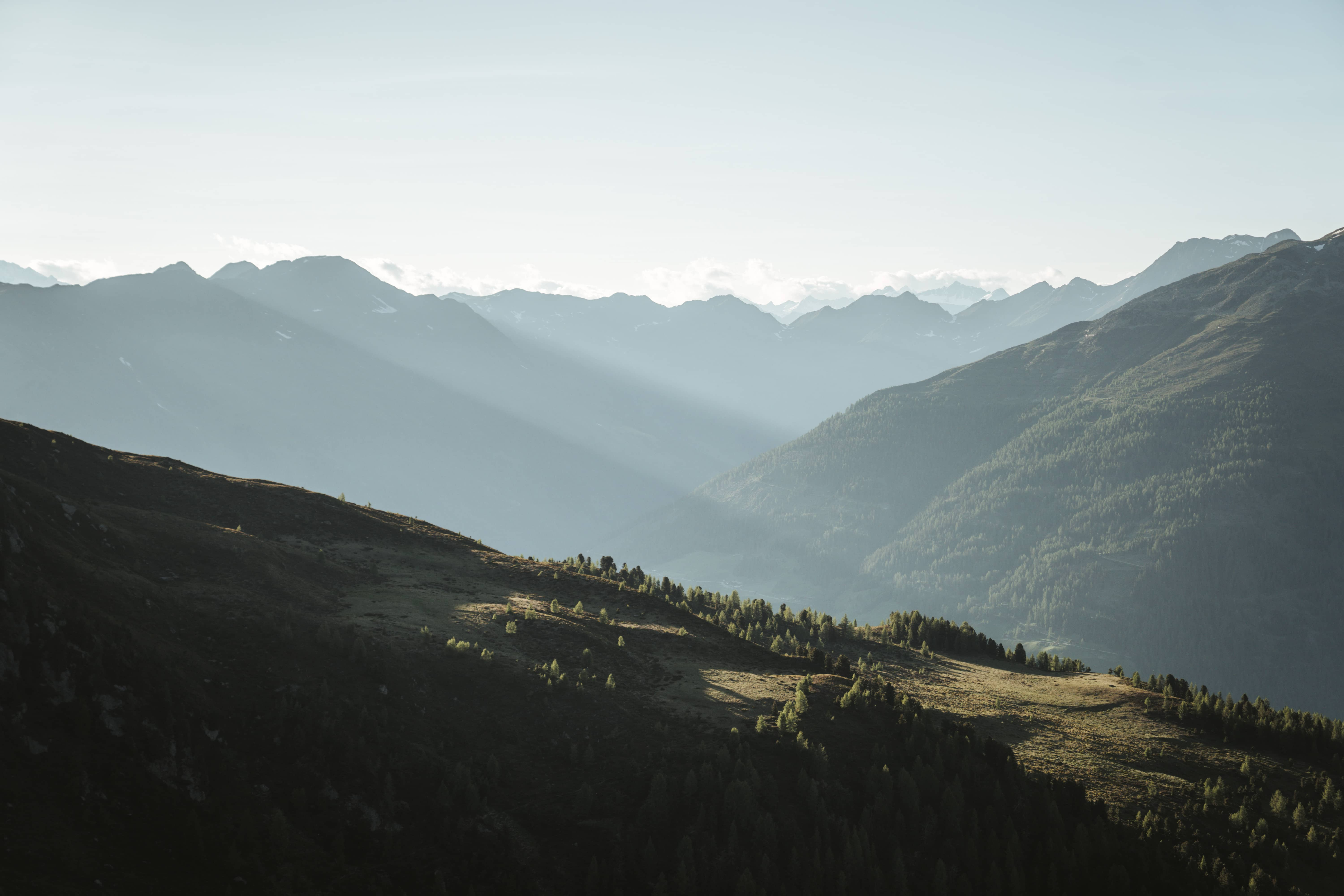 viewpoint off mountain peak Thurntaler in eastern Tyrol in Austria while the sun is setting