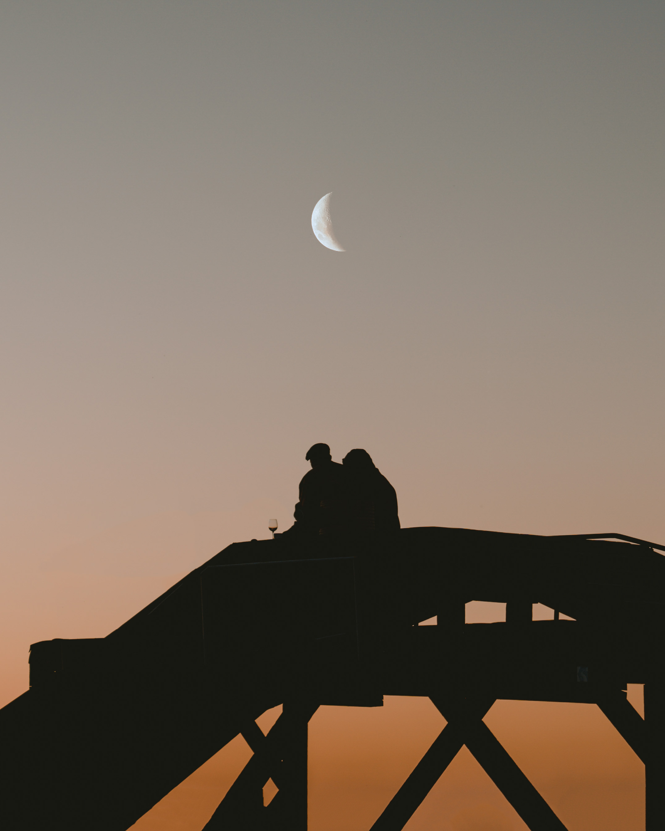 Silhouette of a couple drinking vine while sunset and moon rises above them
