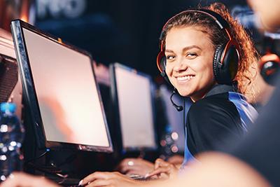 A smiling gamer