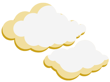 a pair of puffy yellow clouds