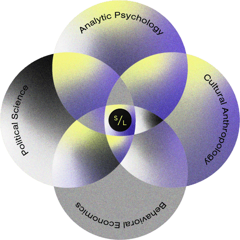 """An infographic of four circles overlapping each other to form one small circle in the middle. Inside the top circle are the words """"Analytic Psychology."""" Inside the right-hand circle are the words """"Cultural Anthropology."""" Inside the bottom circle are the words """"Behavioral Economics."""" Inside the left-hand circle are the words """"Political Science."""" The small circle in the center contains Slanted Light's icon which shows the letter """"S"""" followed by a forward slash and the letter """"L"""""""