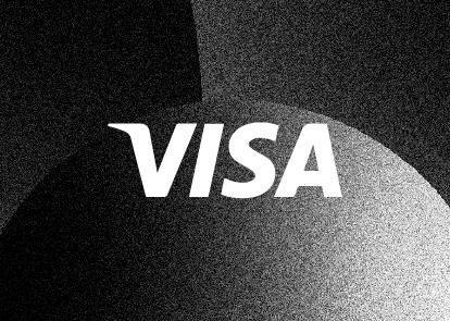 A black textured background with a white Visa wordmark