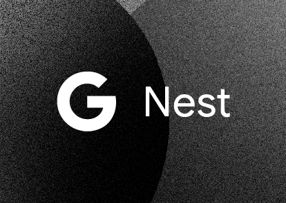 A black textured background with a white Google Nest logo