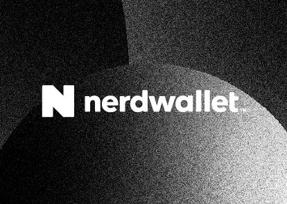 A black textured background with a white Nerdwallet logo