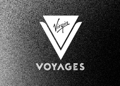 A black textured background with a white Virgin Voyages logo