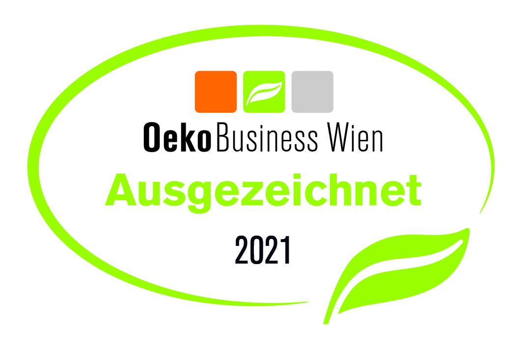 Das Logo der Auszeichnung ÖkoBusiness Wien für das Jahr 2021.