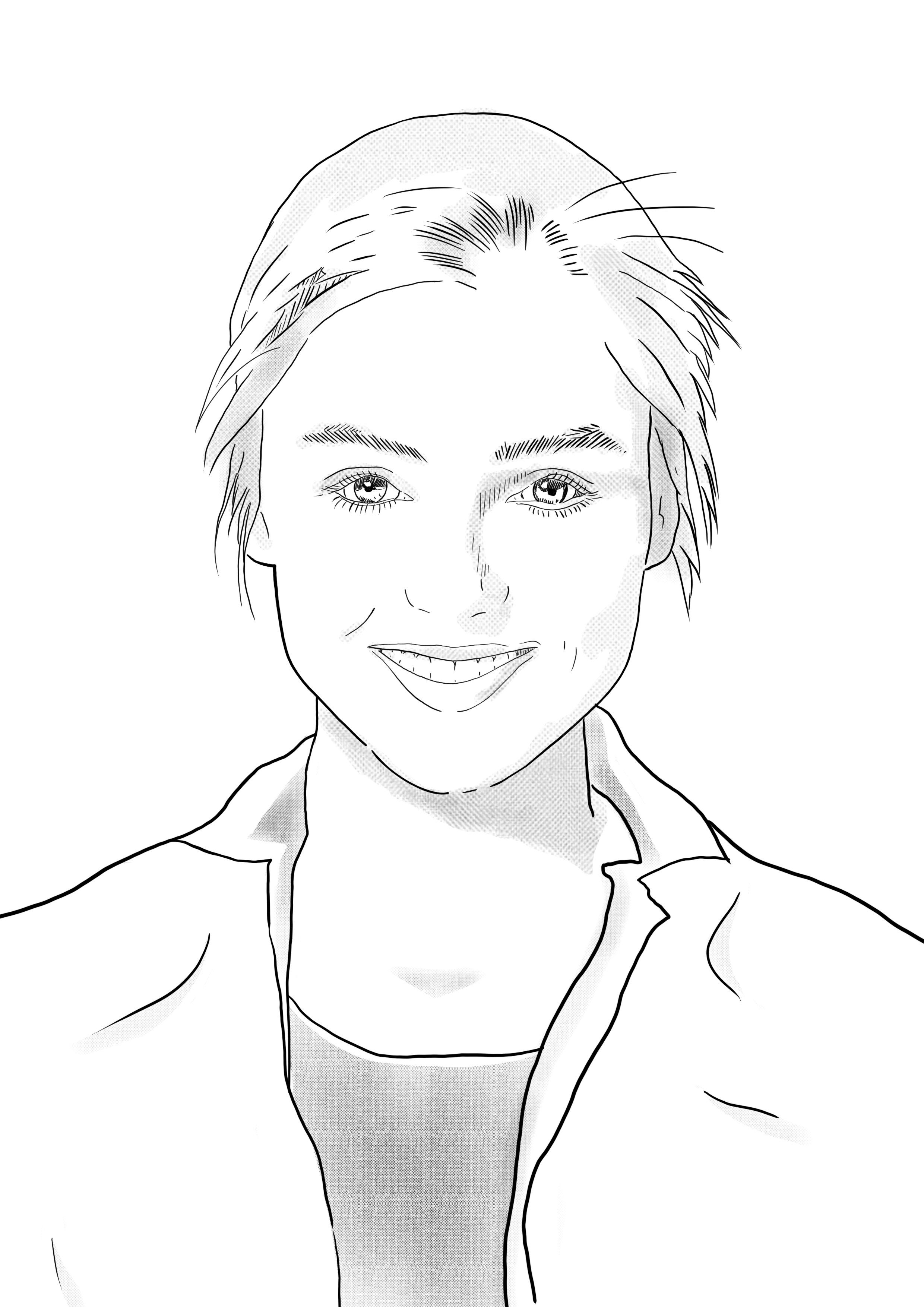 Eine schwarz-weiß Skizze von Esther Hummel.