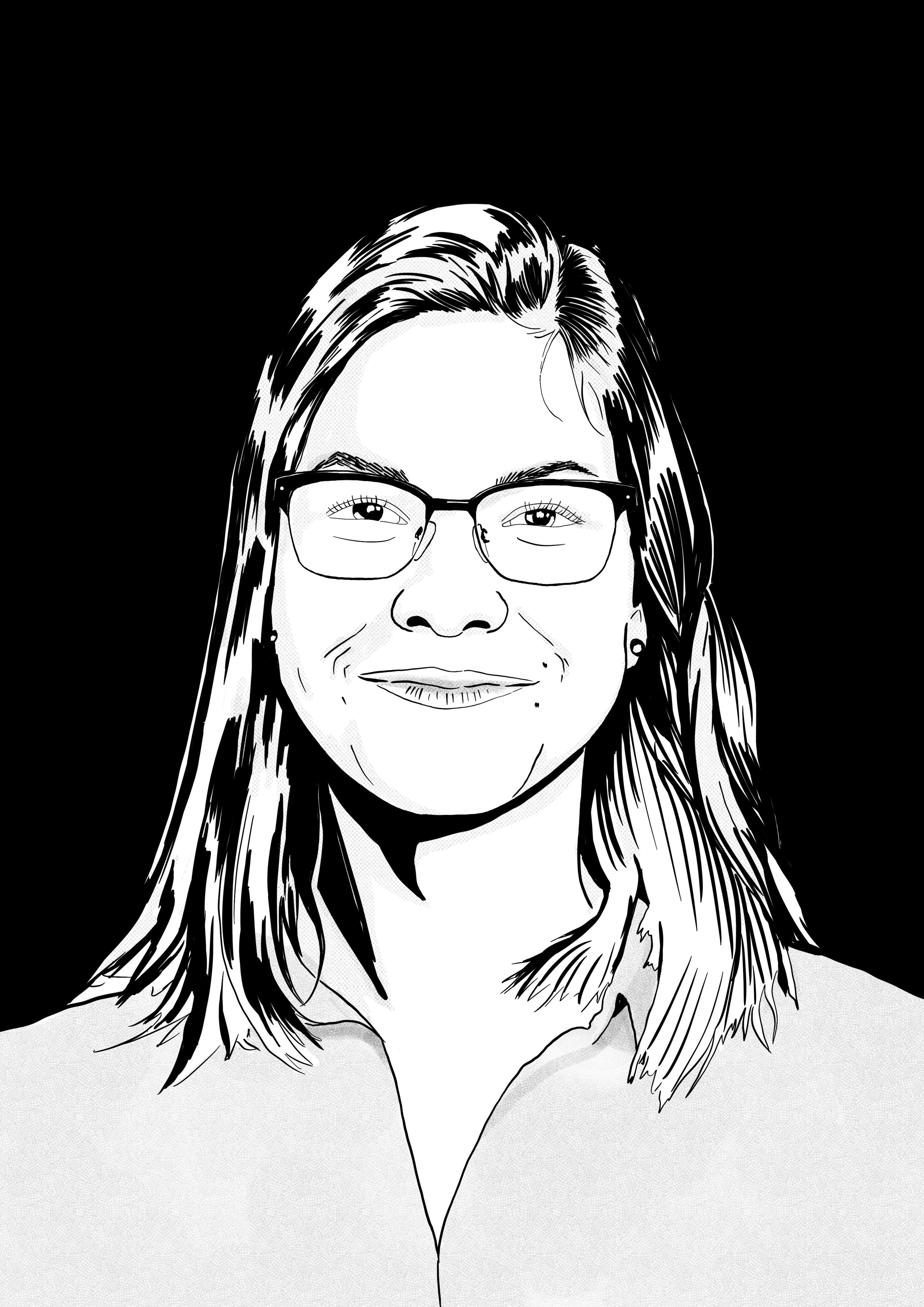 Eine schwarz-weiß Skizze von Marissa Wedenig.