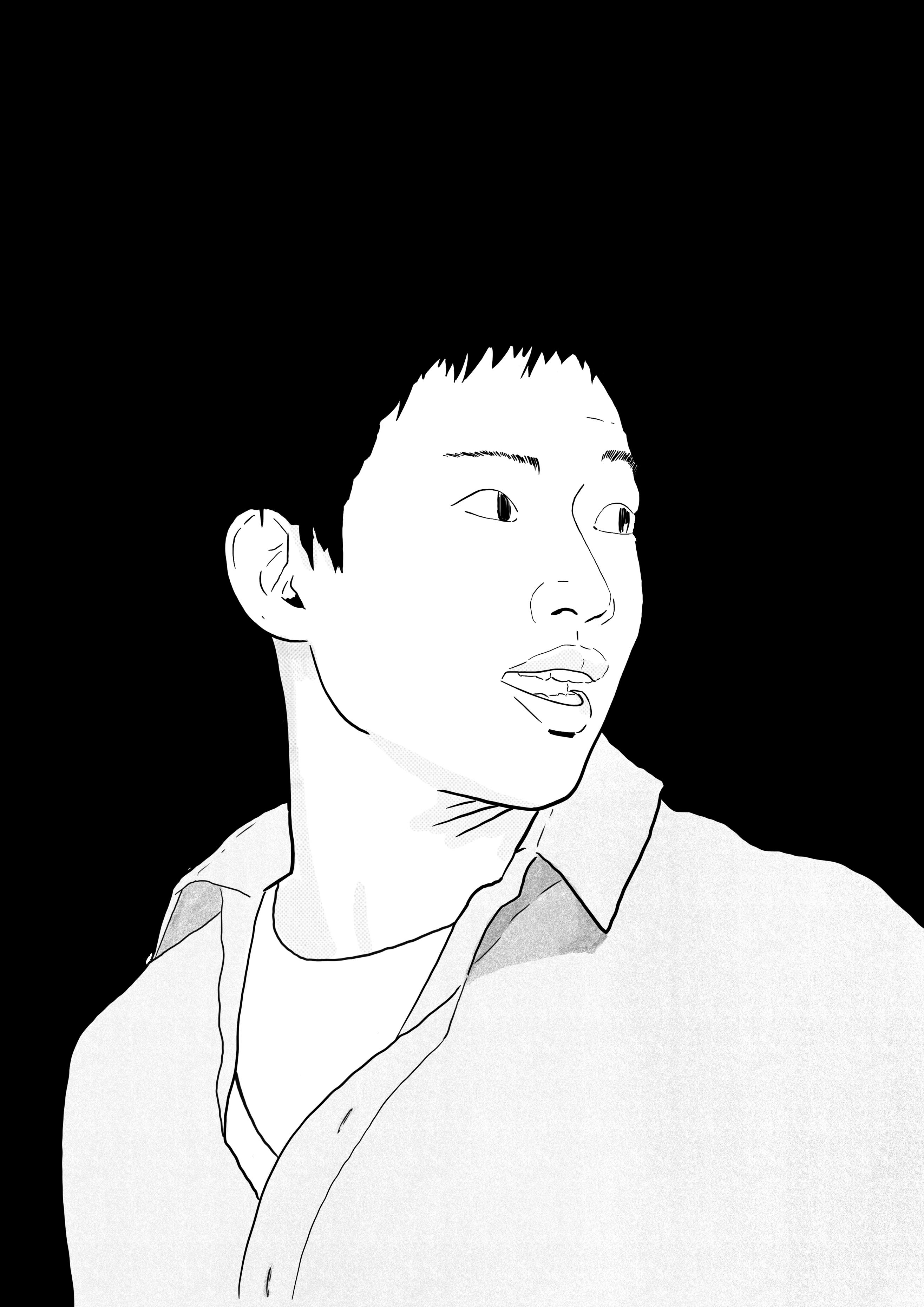 Eine schwarz-weiß Skizze von Ka Wei.