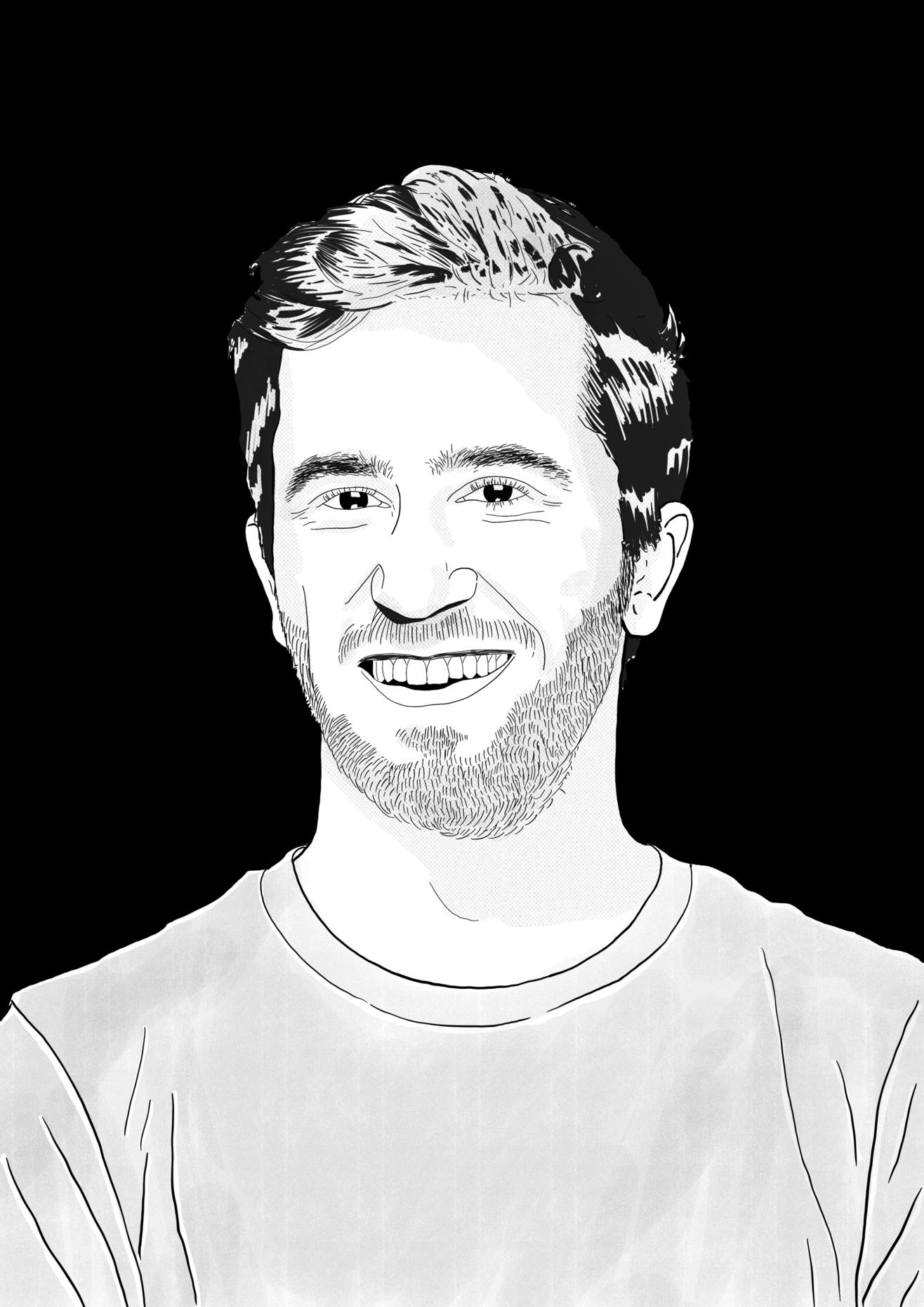 Eine schwarz-weiß Skizze von Moritz Klein.