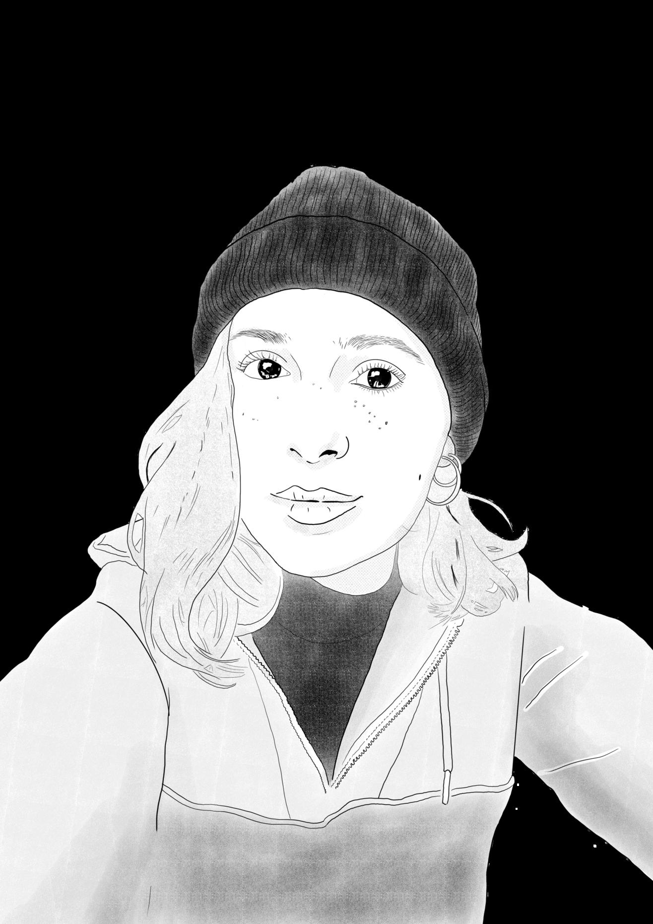 Eine schwarz-weiß Skizze von Lena Hackl.