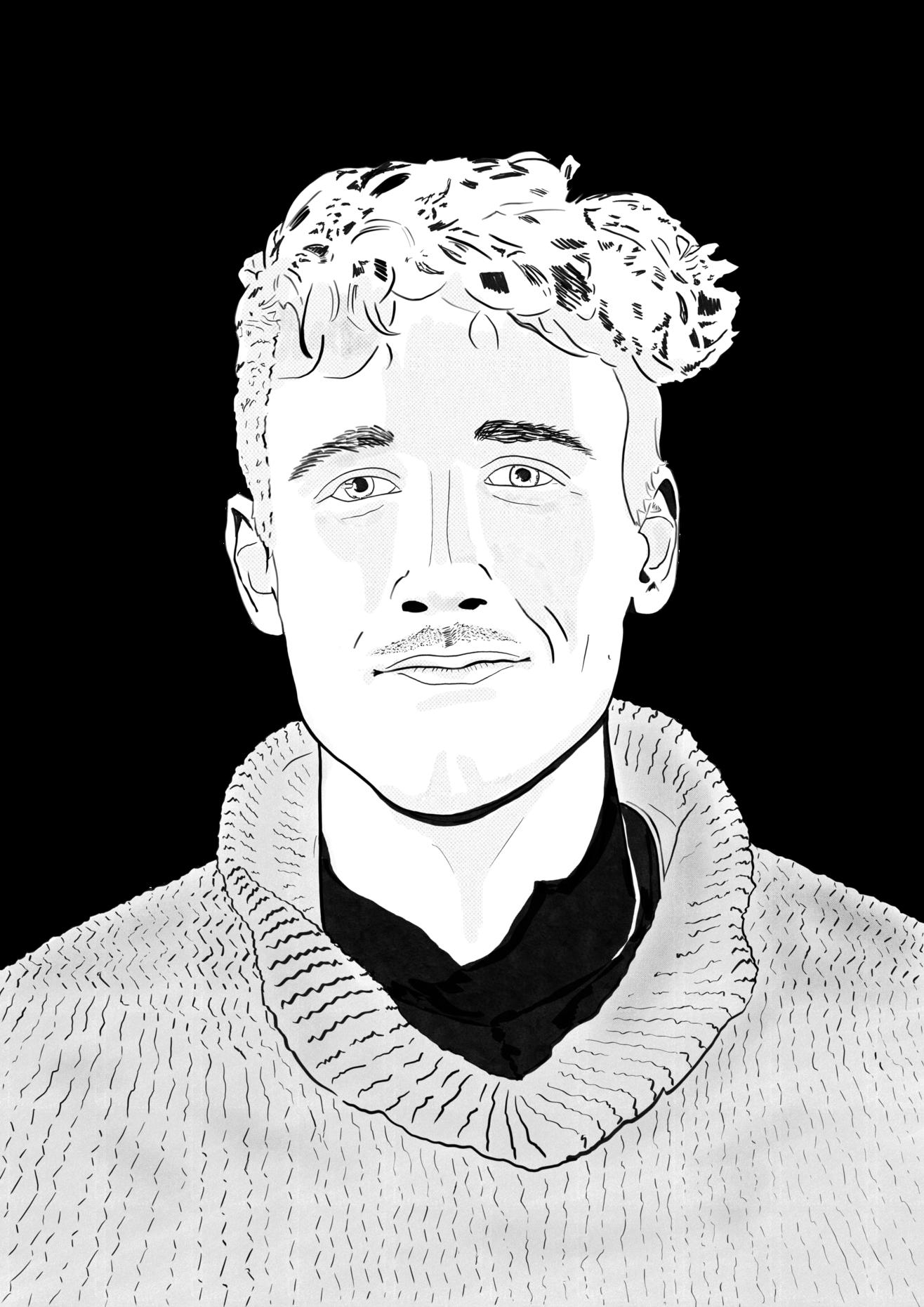 Eine schwarz-weiß Skizze von Lukas Madl.