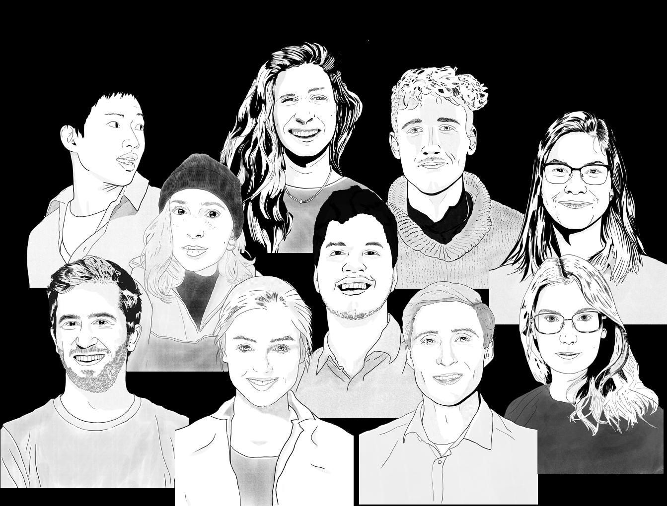 Gezeichnete Skizzen der eiria-Teammitglieder. Unten in der Mitte die Geschäftsführer und Gründer Esther Hummel und Patrick N. Frank. Darum herum versammelt das restliche Team.