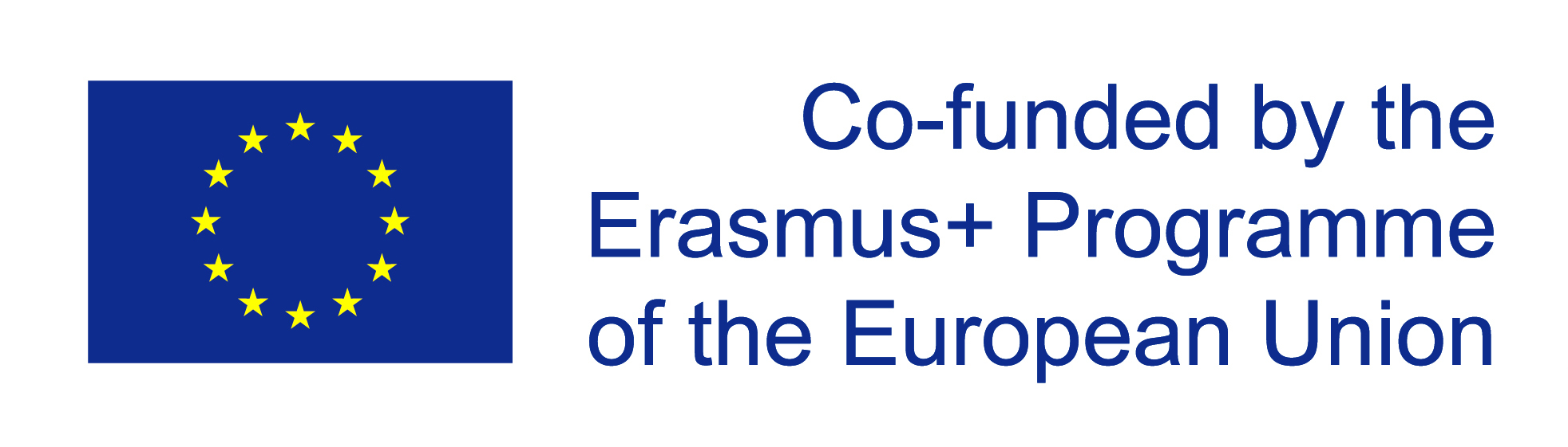 Die Flagge der Europäischen Union. Daneben der Text Co-funded by the Erasmus+ Programme of the European Union.