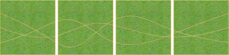 Eine Design-Variante unseres Moospanels mit einem beliebigen Logo. Hier sind vier quadratische Panele in einer Reihe nebeneinander abgebildet. Die Struktur fließt über alle vier Panele.