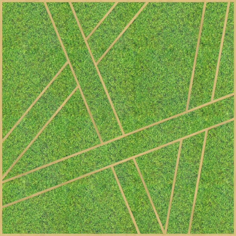 Eine Design-Variante unseres Moospanels mit geraden Linien welche eine Struktur auf dem Moos bilden.