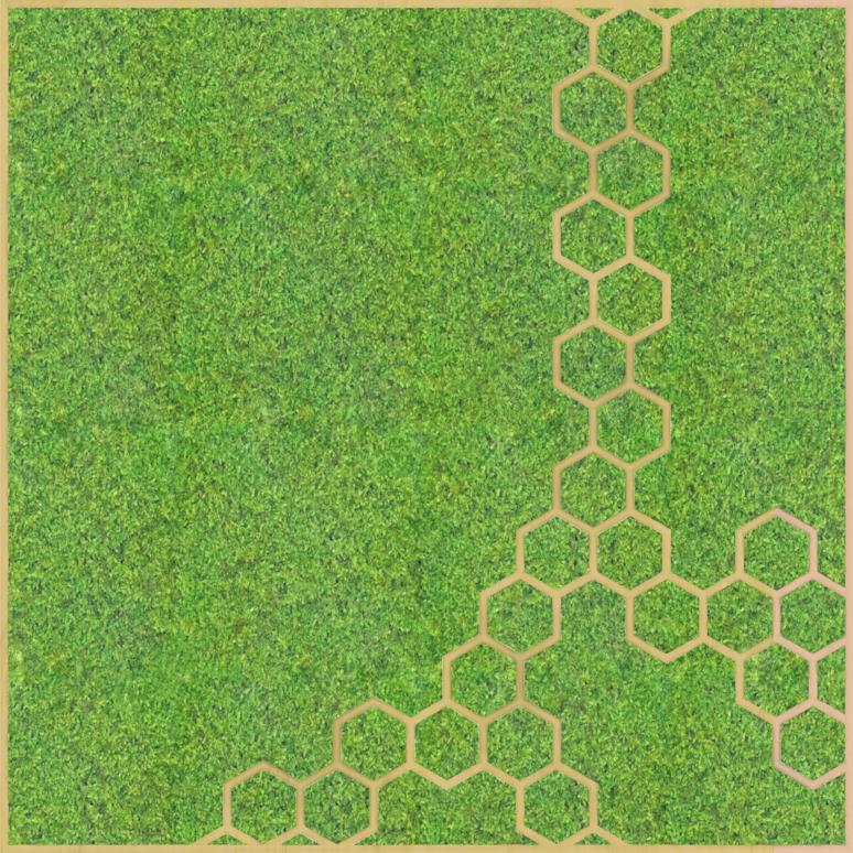 Eine Design-Variante unseres Moospanels mit einem Muster ähnlich Bienenwaben.