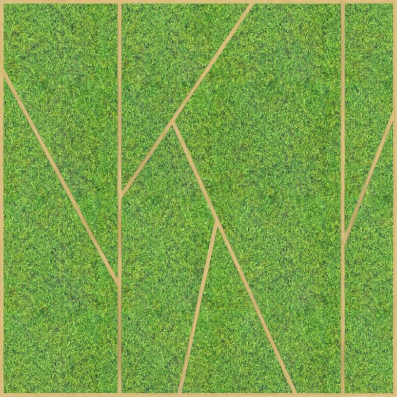 Eine Design-Variante unseres Moospanels mit geraden Linien, welche das Moos in einer Struktur unterteilen.