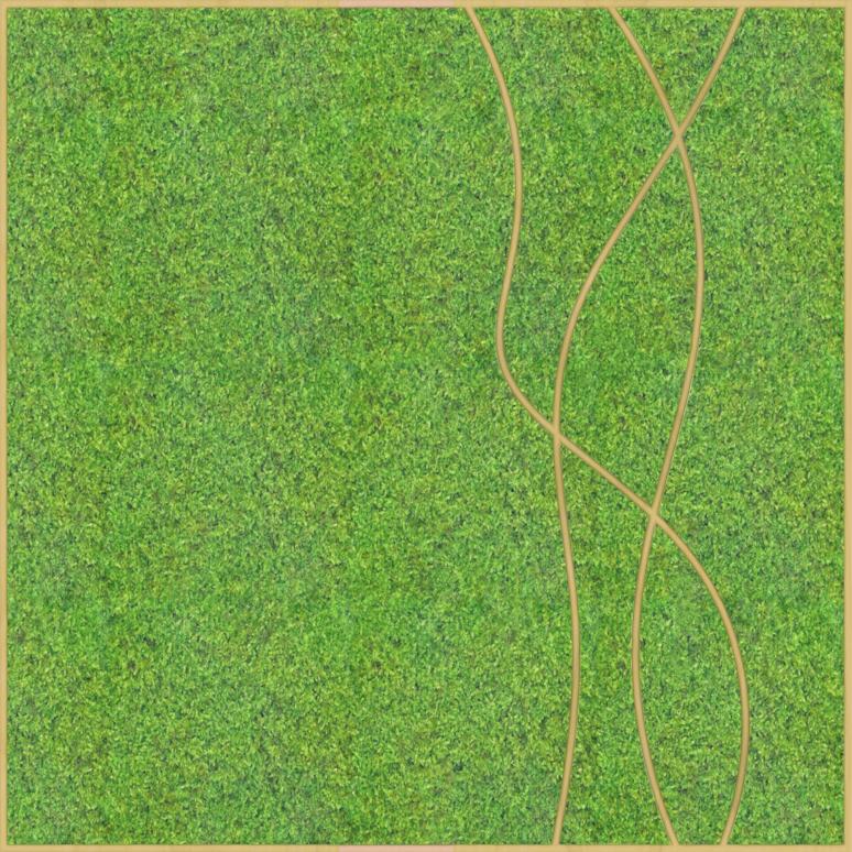 Eine Design-Variante unseres Moospanels mit drei geschwungenen Linien von oben nach unten.