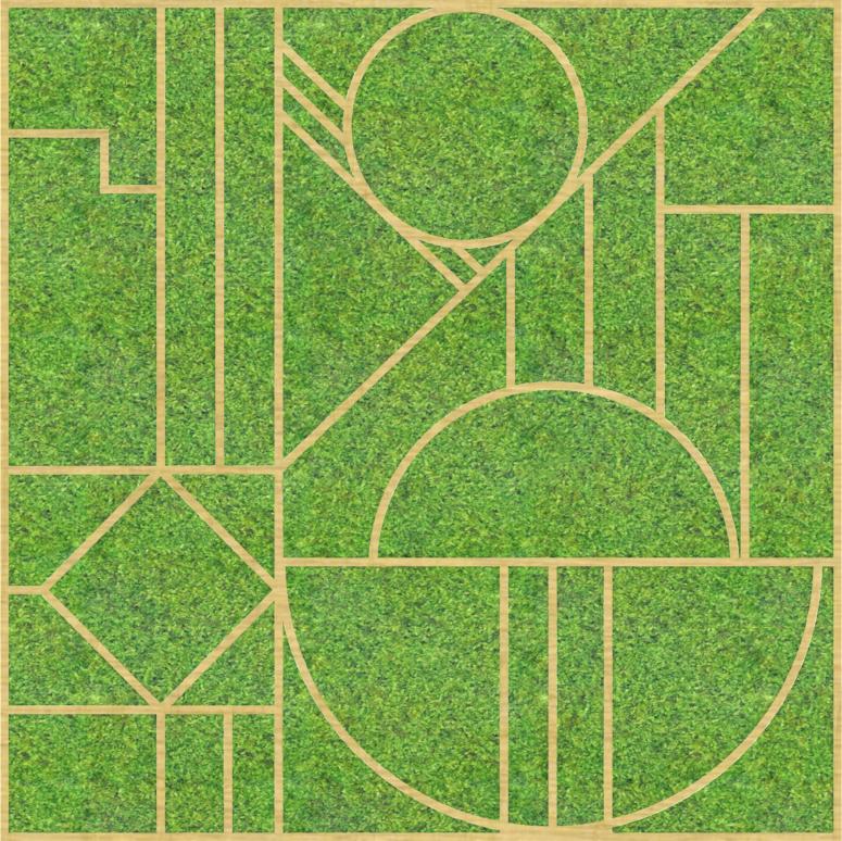 Eine Design-Variante unseres Moospanels mit Formen wie Kreisen, Rauten etc. die über das Moos verteilt sind.