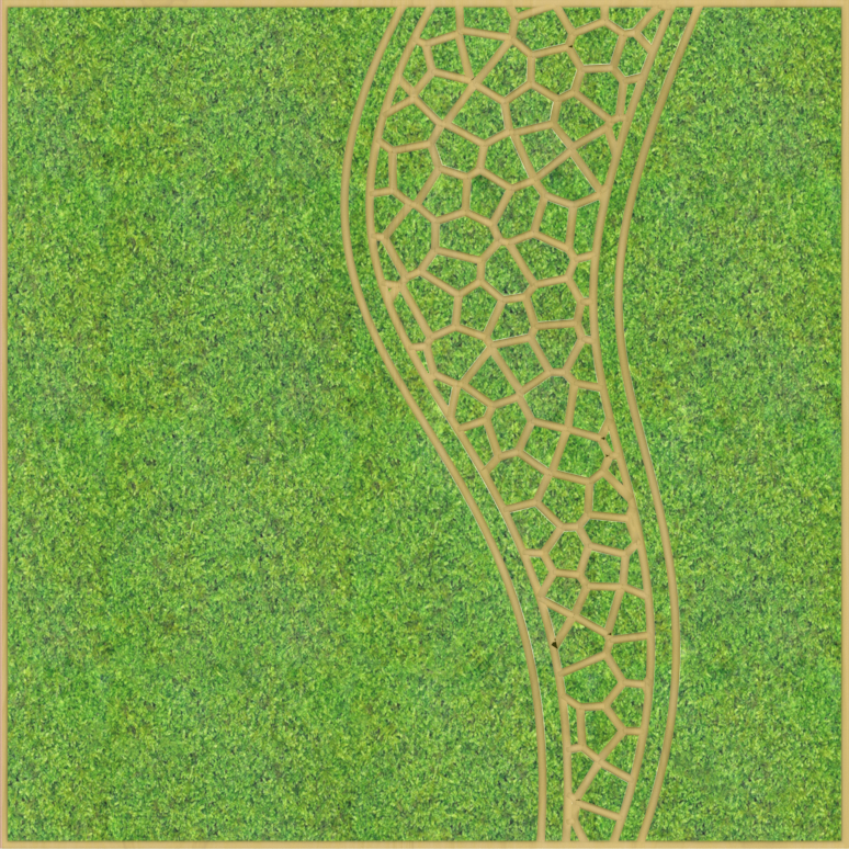 Eine Design-Variante unseres Moospanels mit einem Muster gleich einem Wirbelsturm.