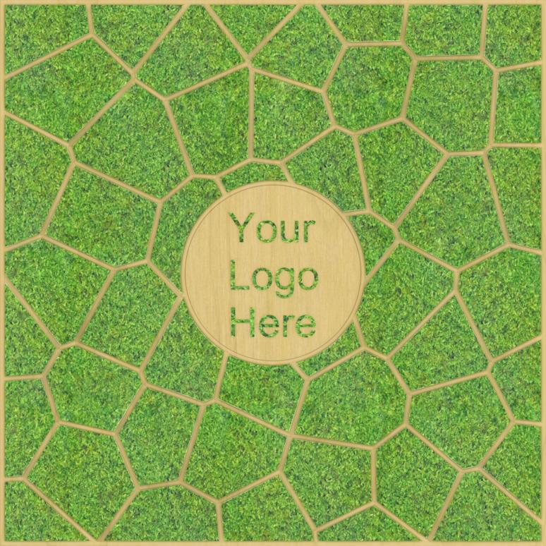 Eine Design-Variante unseres Moospanels mit einem beliebigen Logo. Rund um das Logo ist eine Wabenstruktur.