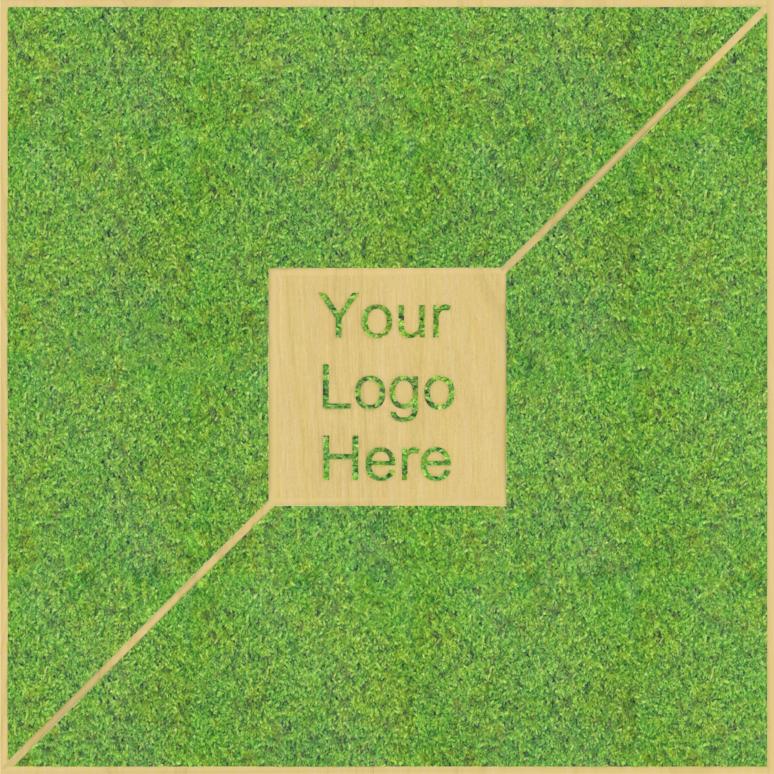 Eine Design-Variante unseres Moospanels mit einem beliebigen Logo.