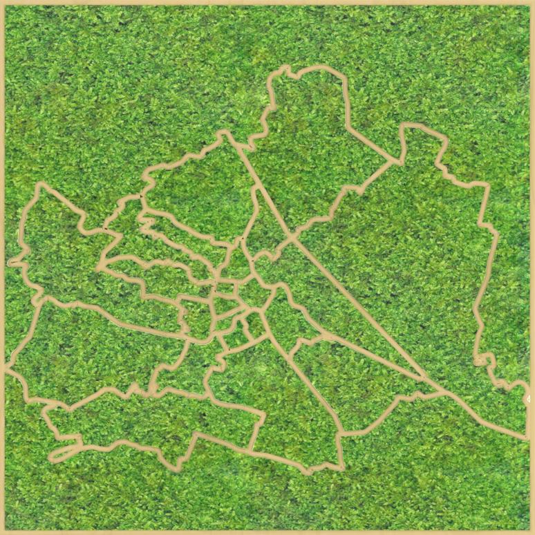 Eine Design-Variante unseres Moospanels mit der Stadtkarte Wiens.