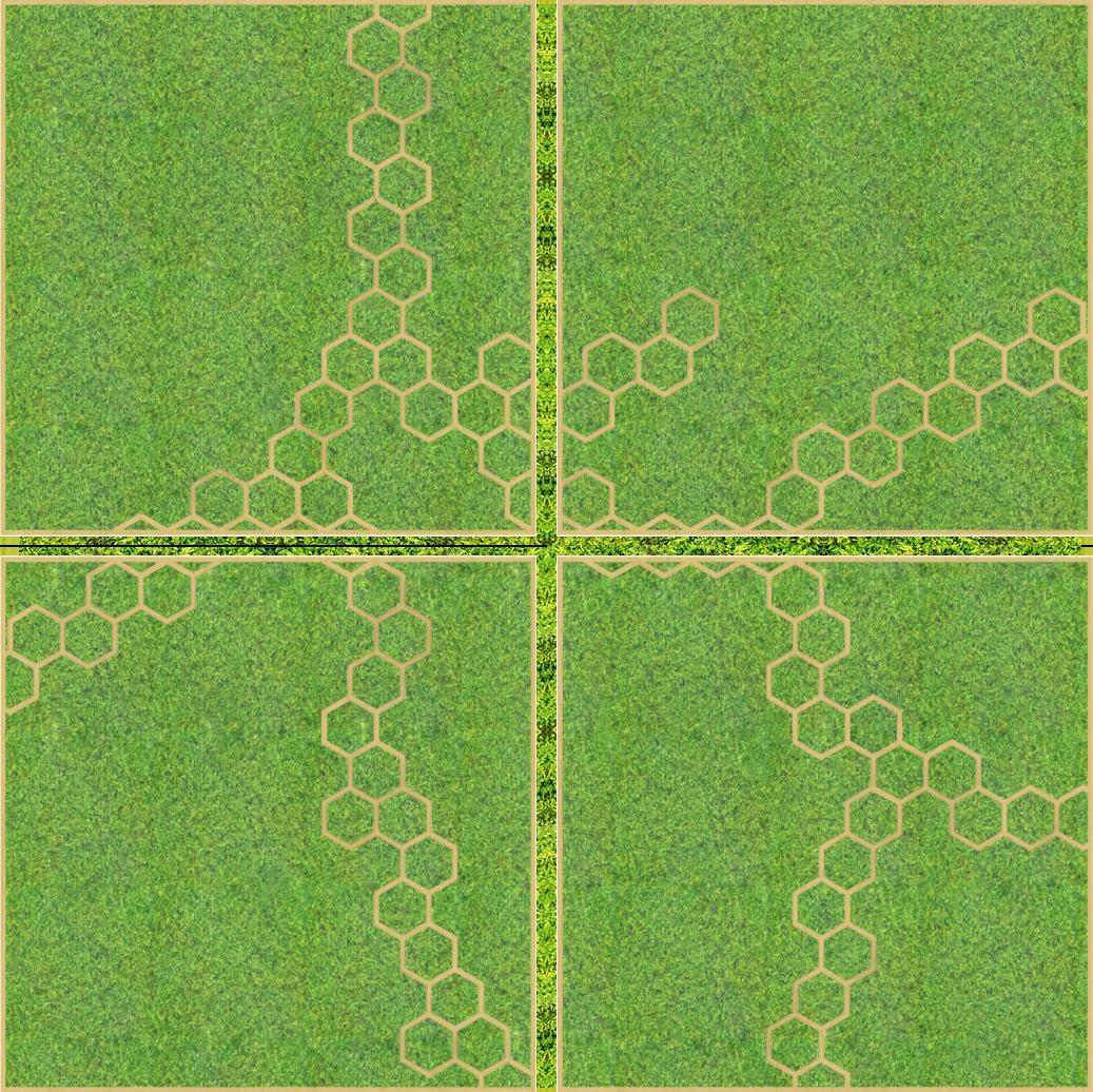 Eine Design-Variante unseres Moospanels mit Bienenwaben. Hier sind vier quadratische Panele zu einem größeren Quadrat angeordnet.