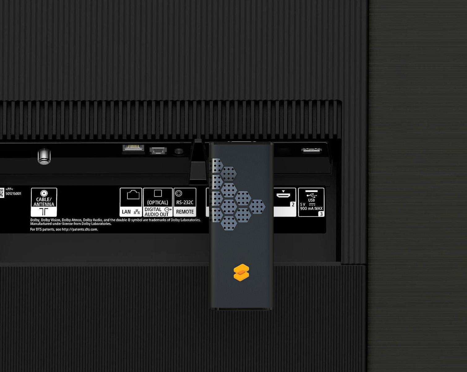 Visuel face arrière d'un écran d'affichage dynamique avec le boitier STEEQ branché sur le port HDMI