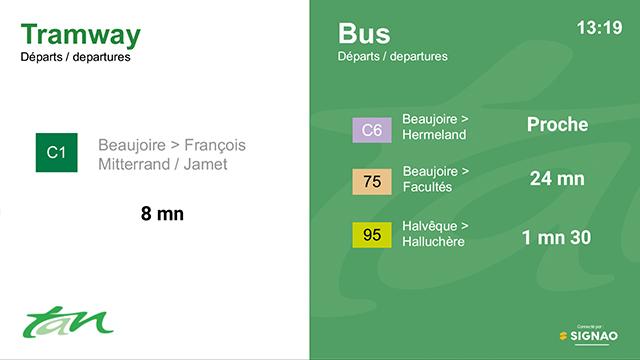 Interface d'affichage dynamique avec horaires en temps réel pour une régie de transport